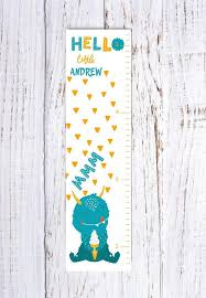 Monster Height Chart Kids Growth Chart Monster Nursery Height Chart Kids Bedroom Decor Personalized Growth Chart