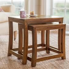 bm wood furniture sheesham wood nest of stools table set o 500x500