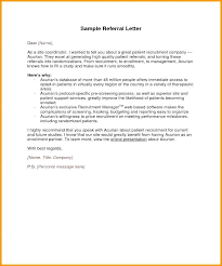 Sample Referral Cover Letter Employee Referral Letter Template Personal Reference Letter