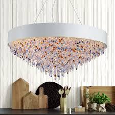 t creative large colorful crystal pendant light dining room home living room restaurant rectangular modern lamp for hall hotel