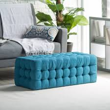 Teal Living Room Chair Living Room Long Blue Tufted Pouf Ottoman Living Room As Bench