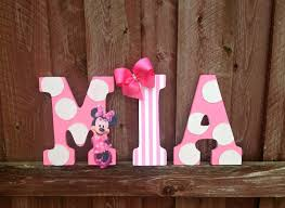9 Pink and white Minnie Mouse Character Letter by GlitzyPrincesses, $10.00