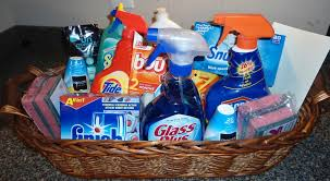 housewarming gift idea cleaning supply gift basket for the new home