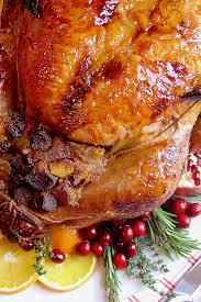 brandy and tangerine glazed roasted turkey