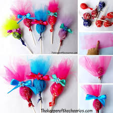 make these adorable troll lollipops with the tutorial from the keeper of the cheerios or you can purchase pre made troll lollipops from craftastic paula