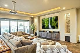 contemporary media room decorating arrangement idea. Contemporary Media Room Incorporated Into Open Living Space Decorating Arrangement Idea M