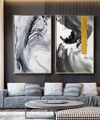 modern swirls abstract black gold wall