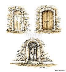 front door drawing. Old Door. Freehand Drawing Of Front Door, Street. Sketch, Vector Illustration Door