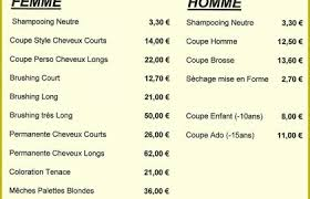56 Tarifs Coiffure 2019