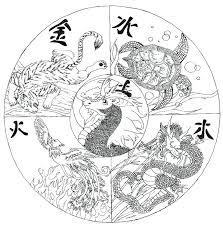China Coloring Page Adult Coloring Page Mandala Chinese Dragon Faces