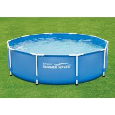 summer waves 11ft x 30 inch round metal frame above ground swimming pools for at