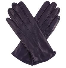 womens ink blue leather gloves silk lining
