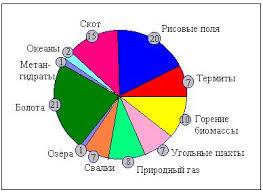 Загрязнение атмосферы Рефераты ru Доли отдельных источников в общем потоке метана в атмосферу5