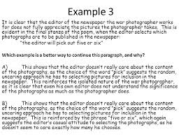 war photographer isolation cel critical essay feedback   ppt  example  it is clear that the editor of the newspaper the war photographer works for