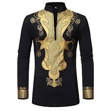 African Print Men S Shirt Designs Modoqo Mens African Print Attire Summer Long Sleeve Stand