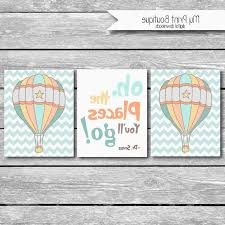 hot air balloon baby bedding detail oh the places you ll go dr seuss e set of 3 nursery wall