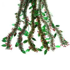 Green Tinsel Wreath With Twinkling Lights 108 Inch Foil Tinsel Festooning 12 Pcs 3 Asst