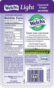 welch juice nutrition label