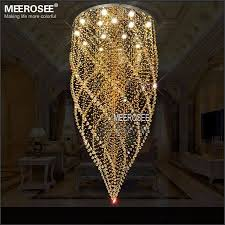 meerosee large crystal ceiling lights fixture amber crystal light re de cristal lamp for stair staircase with gu10 bulbs dia 800mm md2333 ceiling light