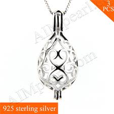 whole 925 sterling silver love heart oval cage pendent fitting 3pcs