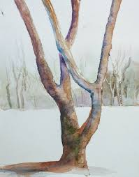 for the trunk you can mix any two complimentary colors to get a brown you like on this tree i began with burnt sienna on one side and french ultramarine on