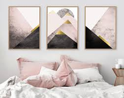 instant downloadable set of 3 printable art prints mountains in blush pink black gold scandinavian modern triptych bedroom decor posters bedroom decor photos62 bedroom