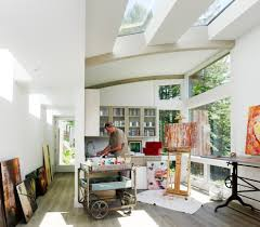 Decorating art studio ideas home office contemporary with transom window  sky lights painter studio