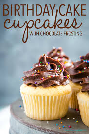 Birthday Cake Cupcakes With Chocolate Frosting The Busy Baker