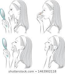 女性 顔 横 目を閉じるのイラスト素材画像ベクター画像 Shutterstock
