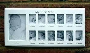 month baby frame my first year photo white hanging wall wood frames 12 months 0 app month baby frame