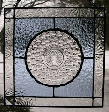 stained glass panel with bubble depression glass plate