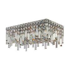 cascade collection 4 light chrome and crystal ceiling light