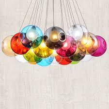 modern wired colourful globe glass multi light pendant light lighting fixture