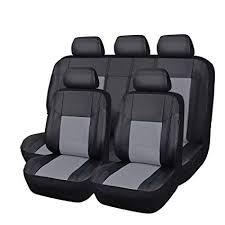 Car Pass <b>Universal Pu Leather</b> Car Seat Cover Set, <b>Black</b> with Gray