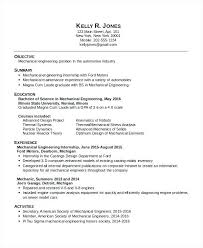 Mechanical Engineering Resume Examples Stunning Sample Mechanical Engineering Resume Pdf For Internship Letsdeliverco