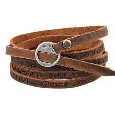 details about punk genuine leather wrap cuff bangle bracelet men women wristband cool jewelry