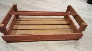 2 x french large pinkish wooden potato pannier trug basket display crate