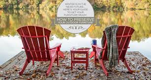 how to protect outdoor furniture. Blog Header With Two Red Adirondack Chairs Next To A Lake How Protect Outdoor Furniture