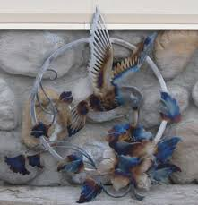 on hummingbird outdoor wall art with tj s metal art flame colored wall art signs torrington wy