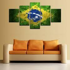 Painting Of Living Room Aliexpresscom Buy 5 Panels Brazil Flag Painting For Living Room