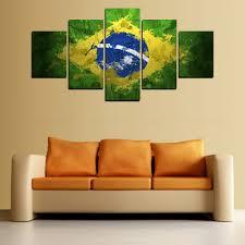 Painting For Living Room Walls Aliexpresscom Buy 5 Panels Brazil Flag Painting For Living Room