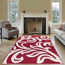 modern area red cream rug for living room