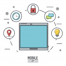 white background poster of mobile app with tablet device premium vector