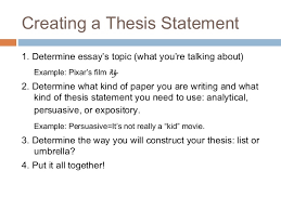 essay writing thesis statement 5 creating a thesis statement 1 determine essay s topic what
