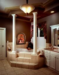 great image of bathroom decoration using white corner triangle bathtub including dark brown bathroom wall paint and fireplace in bathroom