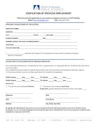 Employment Verification Templates Previous Employment Verification Form Templates At