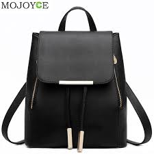 Black School Supplies <b>Backpack Female PU Leather</b> Backpack ...