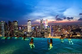 Singapore Sands Infinity Pool At Night Marina Bay Sands Skypark