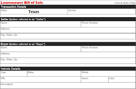 Bill Of Sale Texas Template Texas Lawnmower Bill Of Sale Free Template Selling Docs