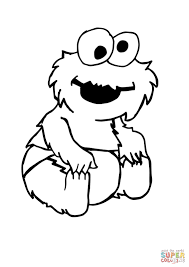 Baby Cookie Monster Sitting Coloring Page Free Printable Coloring